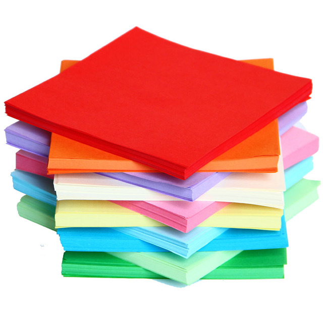 New 100pcs/lot 15 cm Square Origami Paper Single Sided Solid Color ...