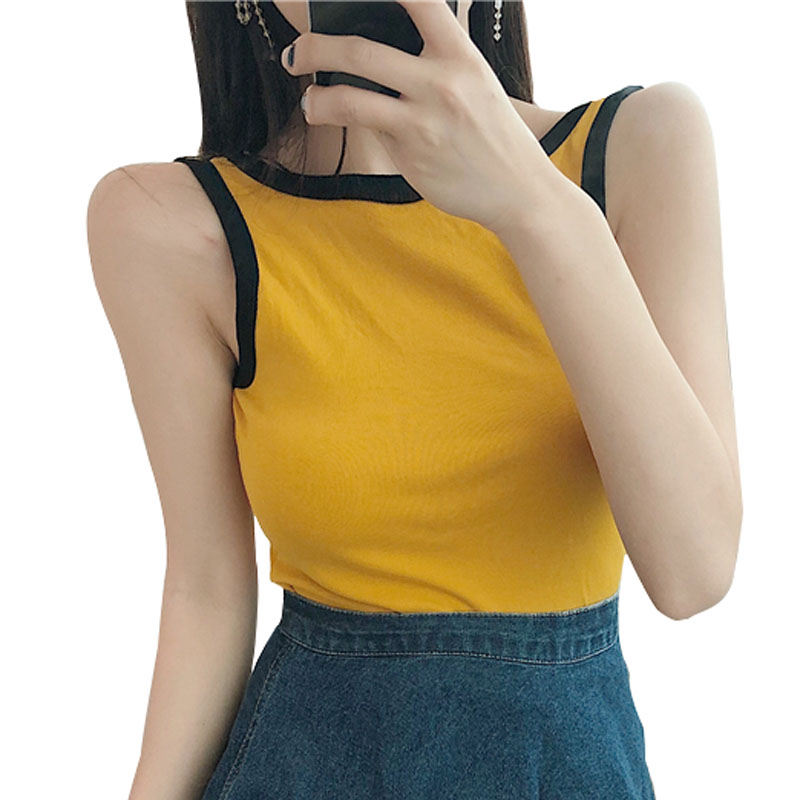 New 2018 Summer Women Fashion Sexy Backless Contrast Color Vest Slim Joker Casual Short Solid Camis Render Tops for Drop Ship ...