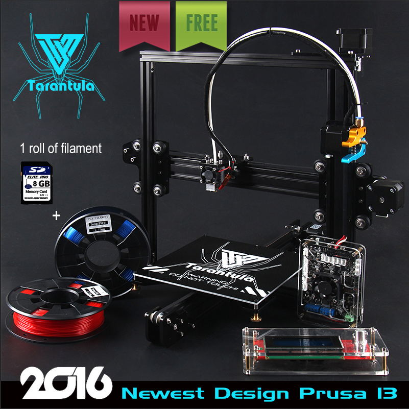 2016 Newest TEVO Tarantula I3 Aluminium Extrusion 3D Printer kit printer 3d printing 2 Rolls Filament 8GB SD card LCD As Gift