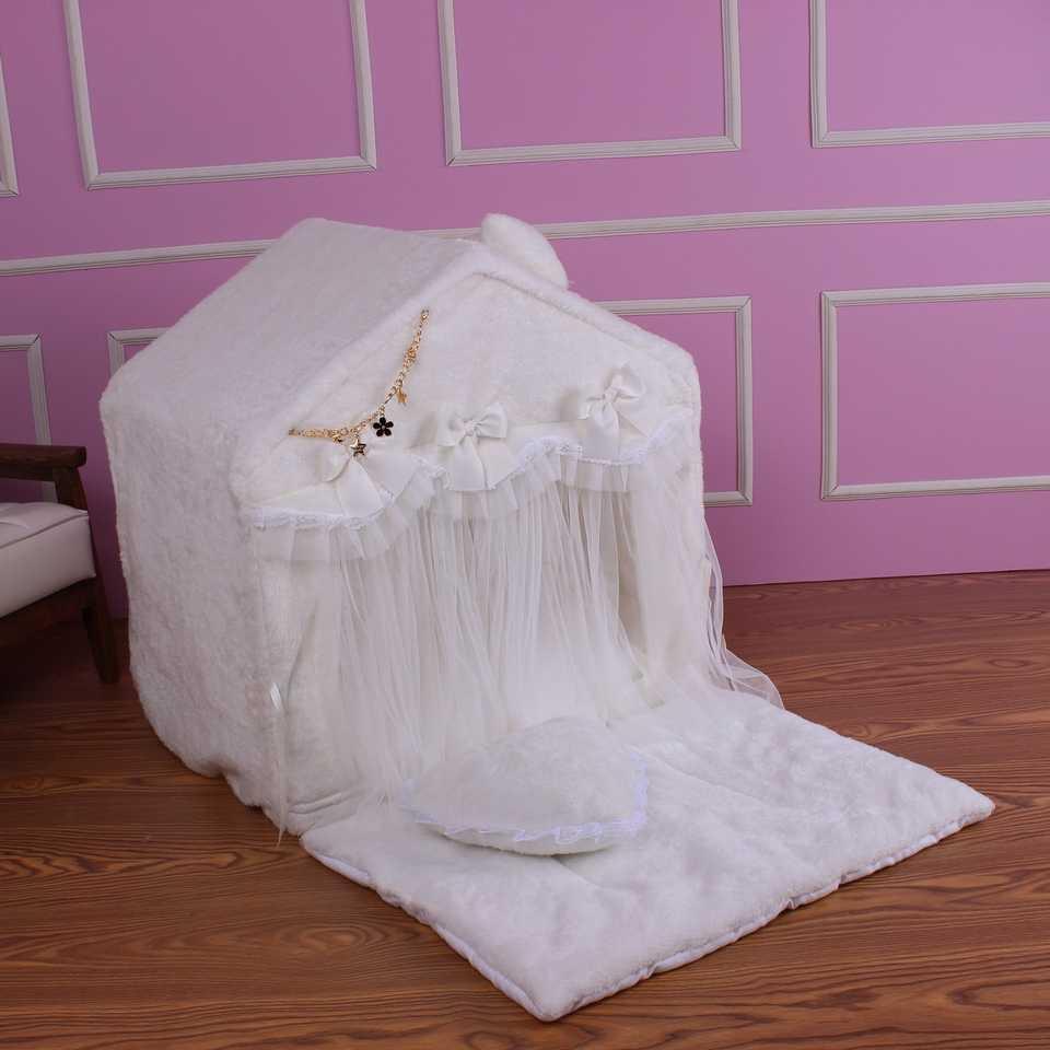 Бархатный домик-палатка кораллового цвета для домашних животных, мягкий питомник, теплая Толстая Подушка, домик для котят, кровать для собак, кровать для кошек, домик для домашних животных