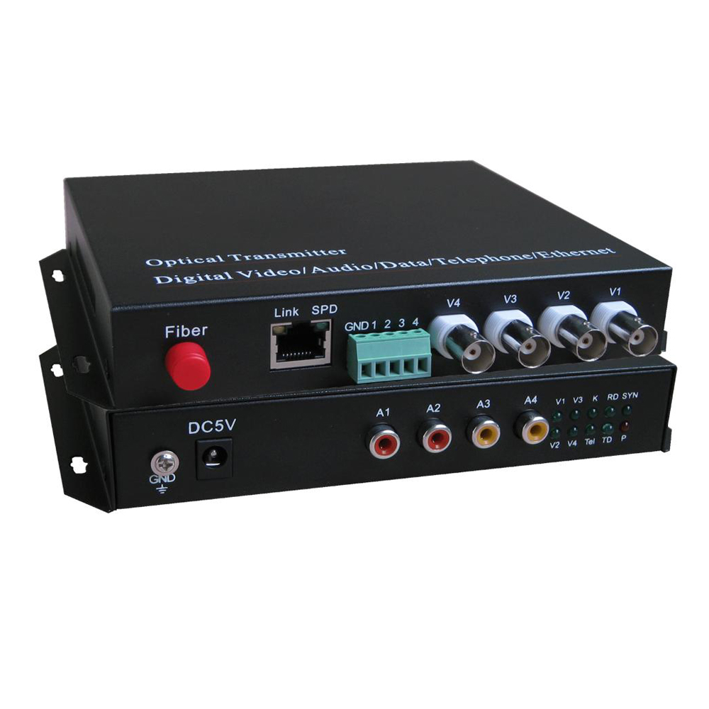 4 Video/Audio/Ethernet Optical fiber media converters (Transmitter and Receiver kit)- FC Singlemode up 20Km for CCTV Customized4 Video/Audio/Ethernet Optical fiber media converters (Transmitter and Receiver kit)- FC Singlemode up 20Km for CCTV Customized