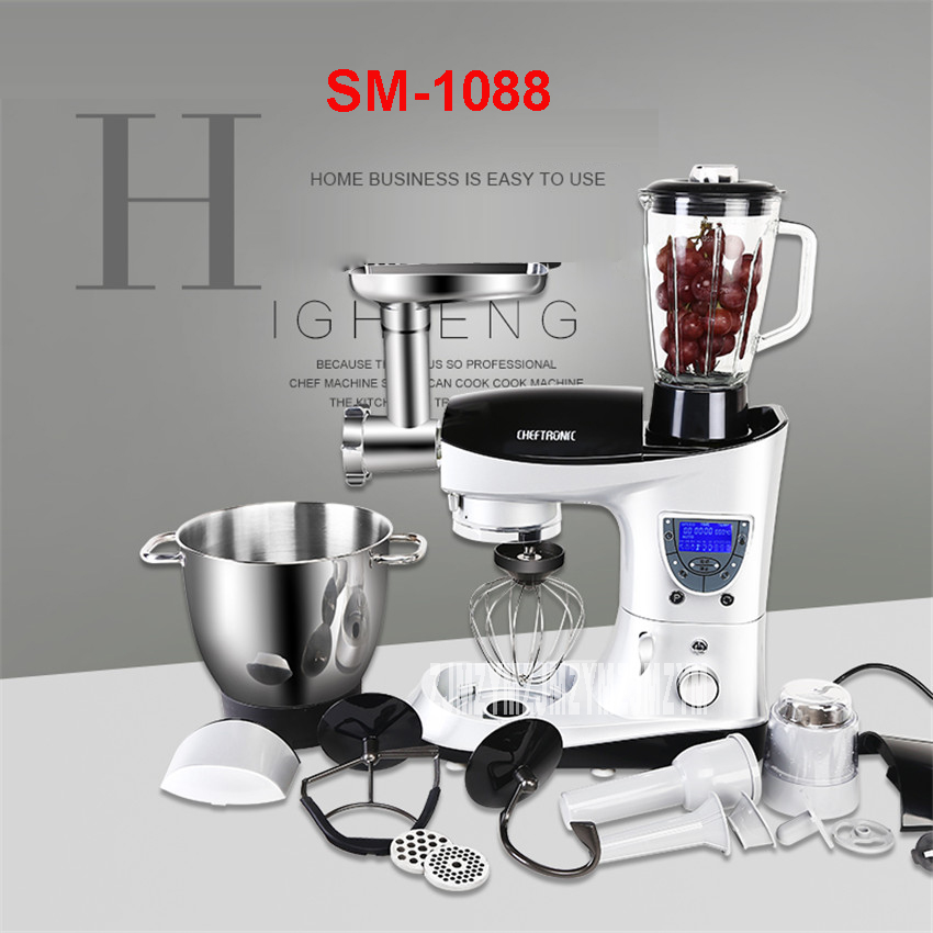 SM-1088 220 V Professional LCD Multifunction Liquid Pasta /Milk /Cake Mixer Smoothing Egg Bucket 7L Automatic Winder with Timer