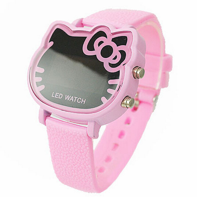 Hello Kitty Cartoon Watch Children Girls Pink Rubber Band