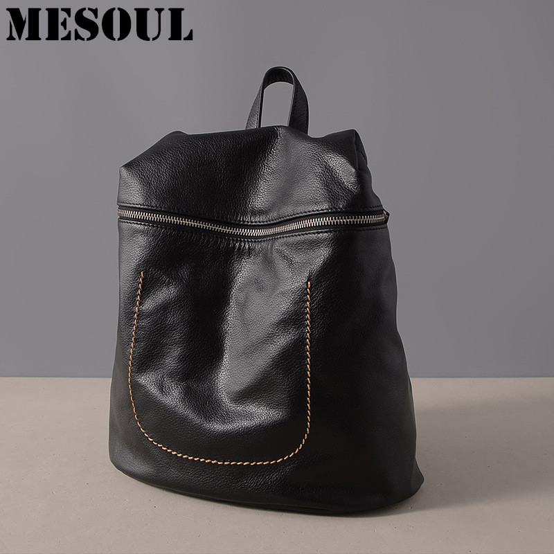 MESOUL Bag Backpack Natural Soft Real Leather Backpacks Genuine Cow Leather Travel Shoulder Bag Brand Women Backpack School Bags backpack female genuine leather women backpacks school bag plaid strip multifunctional cow leather travel backpacks lf15833