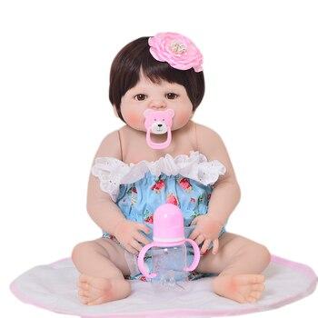 Newborn Baby Full vinyl Silicone dolls  22inch 55cm bebe girl reborn Lifelike Princess cute birthday gift toy doll