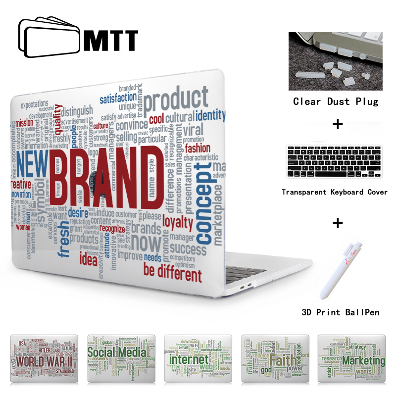 MTT Word Gathered Cover For New MacBook Pro 13 15 2017 2016 A1706 A1708 A1707 Touch Bar 12 Retina For Macbook Air 13 Laptop Case new silver for macbook pro retina 15 4 a1707 force touch pad touchpad trackpad