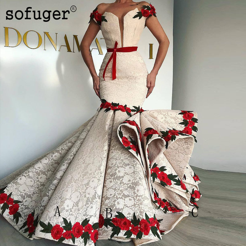 Elegant Flower Mermaid Evening Dresses Cap Sleeves Sofuge Bow Lace Appliques Long Arabic Muslim Special Occasion Party Dresses