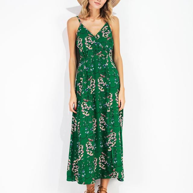 TC 2017 New Arrival  Ladies Sexy New Style Floral Printed  Deep V Neck Spaghetti Strap Backless Slip Elegant Women Cami Dress