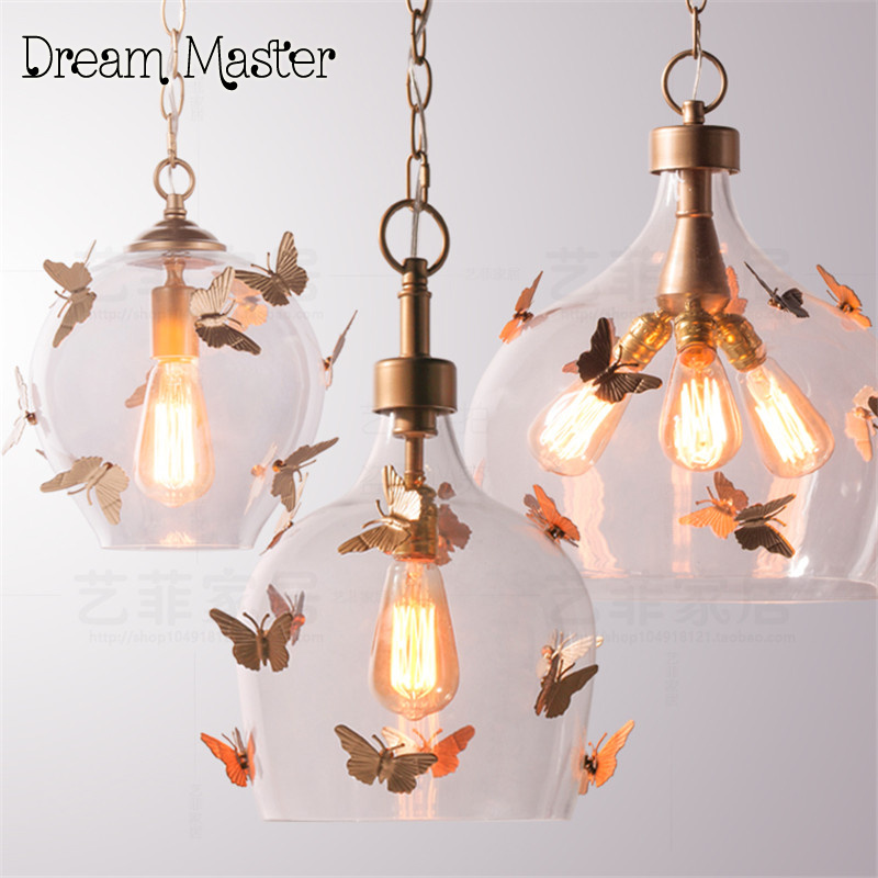 American Style Butterfly Glass Chandelier balcony corridor retro chandelier bedroom restaurant  children's room  girls  Princess