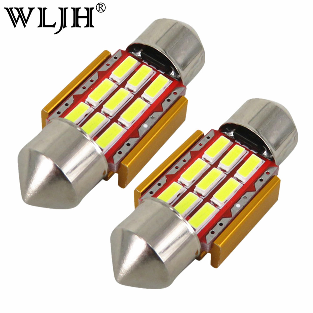 WLJH 4szt 31mm Led Festoon Car Interior Light Lamp DE3175 9 SMD Trunk Dome Map Bulb Light dla MAZDA 2 3 5 6 2015 2014 2013 2012