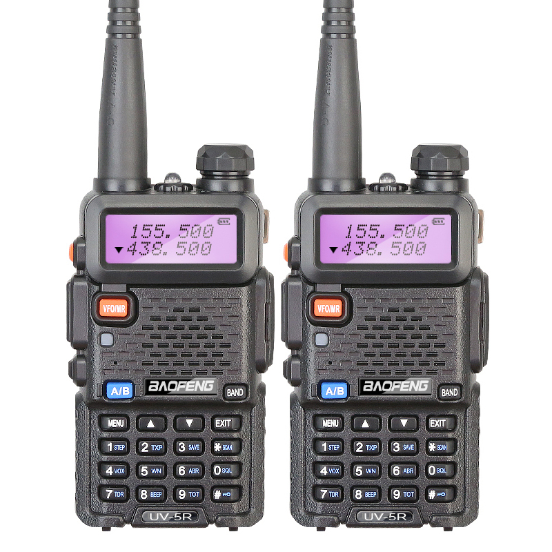 2 Set BAOFENG UV-5R VHF UHF  136-174/400- 520MHz Dual-Band DCS CTCSS Walkie Talkies