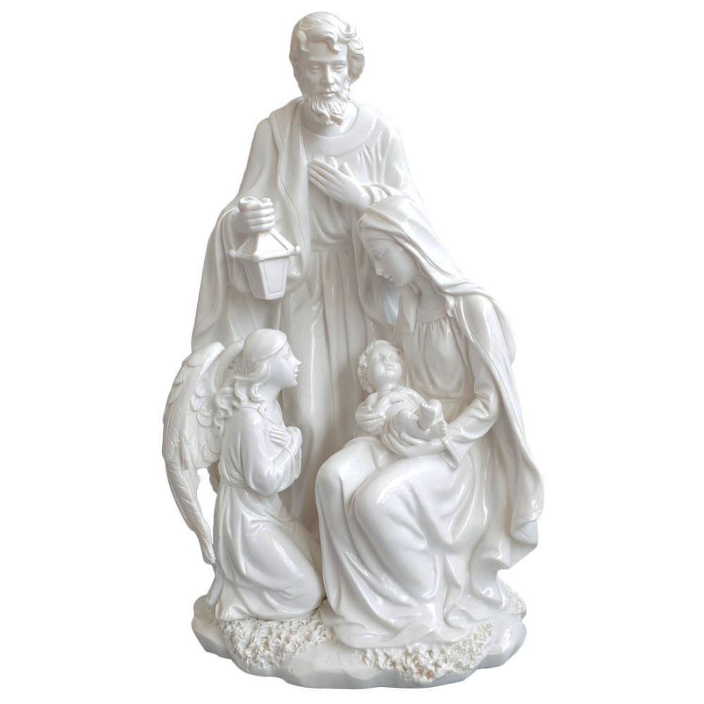 Christmas Gift Home Decoration Accessories Holy Family With Angel Statue Jesus Nativity Figurine Decorative Figurines 10