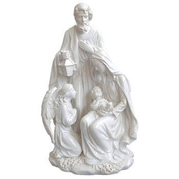 Christmas Gift Home Decoration Accessories Holy Family With Angel Statue Jesus Nativity Figurine Decorative Figurines 10.8 inch
