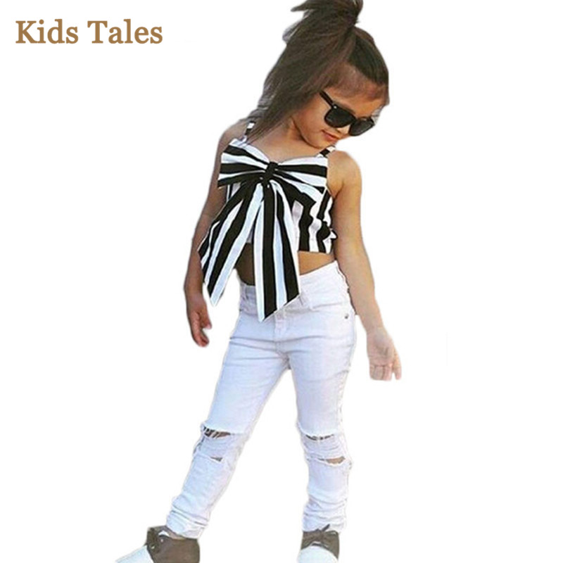 3067b8673bf Detail Feedback Questions about PR 118 Kids Girls Clothing Sets sleeveless  Black White Striped Heart Shaped T shirt And White Pants Children Girls  Clothes ...