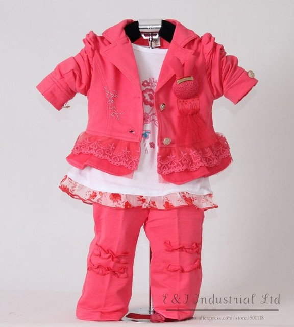 Whosale Watermelon red Kids Clothes Set For Girls 3Pcs: Coat and T Shirt and Pants New Autumn Clothing100% Same Like Pitures