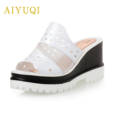 AIYUQI 2019 summer new outer wear genuine leather women slippers, high-heeled slippers  thick-soled fashion shoes female