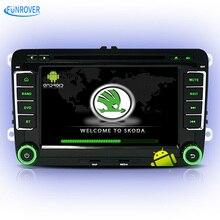 FUNROVER quad core android 5.1 car dvd player for Skoda octavia fabia rapid superb yeti car gps navigation multimedia iso plug
