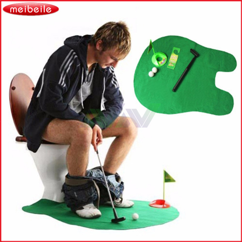 2017 New Arrival Funny Toilet Bathroom Mini Golf Mat Set Potty Putter Putting Game Mens Toy Novelty Gift Free Shipping