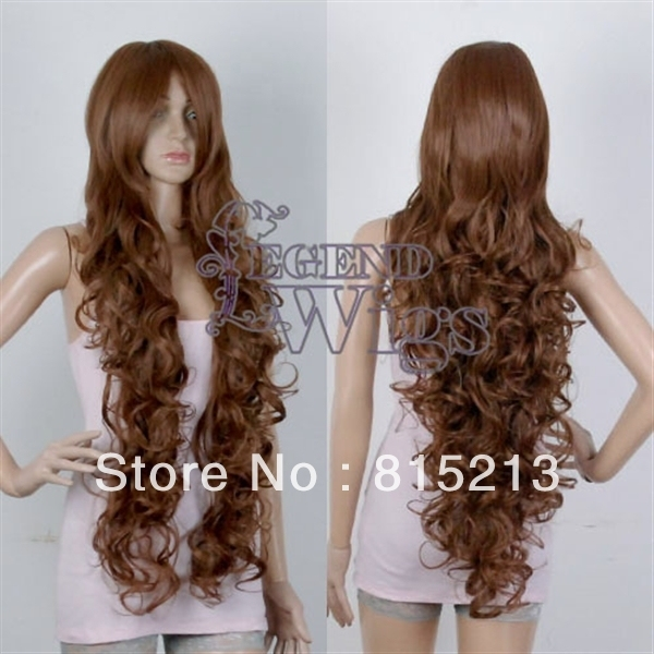 "120 Extra Long 40"" Curly Brown Wavy Costume Party Cosplay Wig"