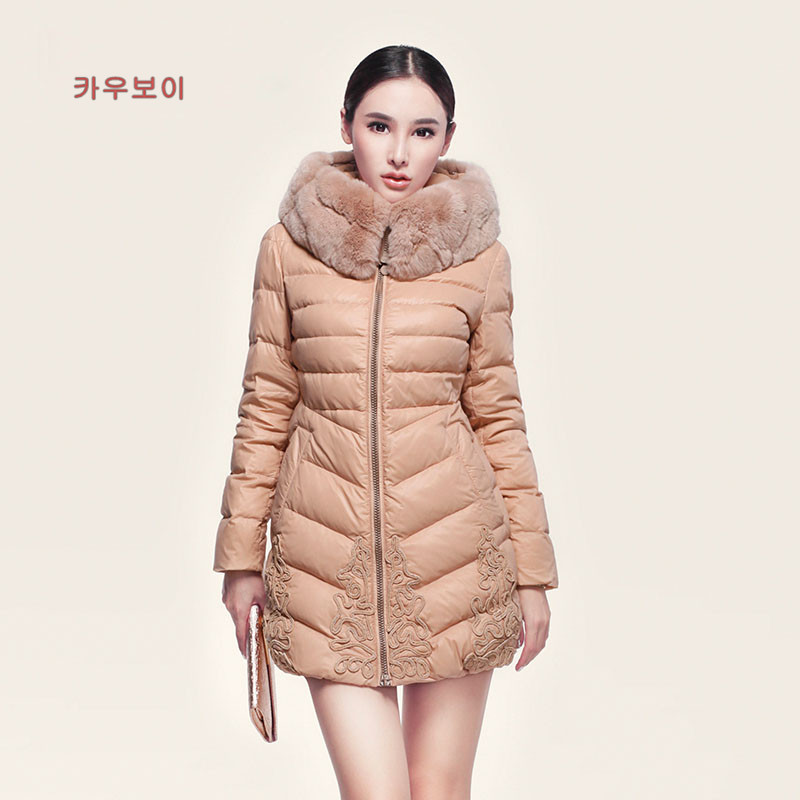 Slim New Women'S Winter Warm Genuine Luxury Large Natural Fur Collar Long Duck Down Jacket Women Free Shipping H1765 2015 h1765