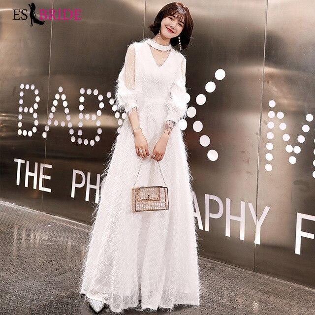 new product 0f0d4 301ee Weiß Einfache Abendkleider Lange Formale Kleid Frauen Elegante Party  Arabische Kleider Abend Vestido De Noche Con Cristal ES2418