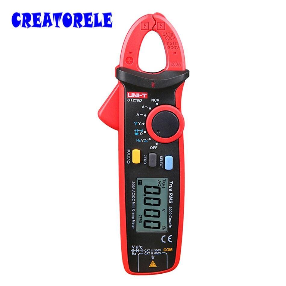 ФОТО UNI-T Mini Digital Clamp Meter UT210D Ture RMS Auto Range Capacitance Clamp Multimeters Megohmmeter Temperature Multitester