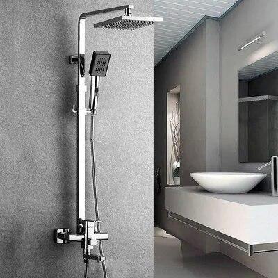 Dofasoブランド8インチ角筒とスクエアヘッドシャワー雨シャワーヘッドクロームポリッシュ浴室のシャワーセット蛇口  グループ上の 家のリフォーム からの シャワー 蛇口 の中 1