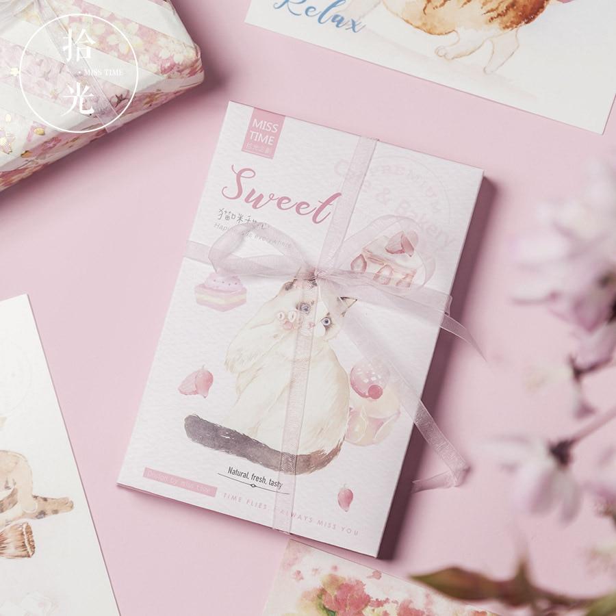 30 Sheets/Set Kawaii Cat Sweetheart Postcard Greeting Card Birthday Letter Gift Card Message Card