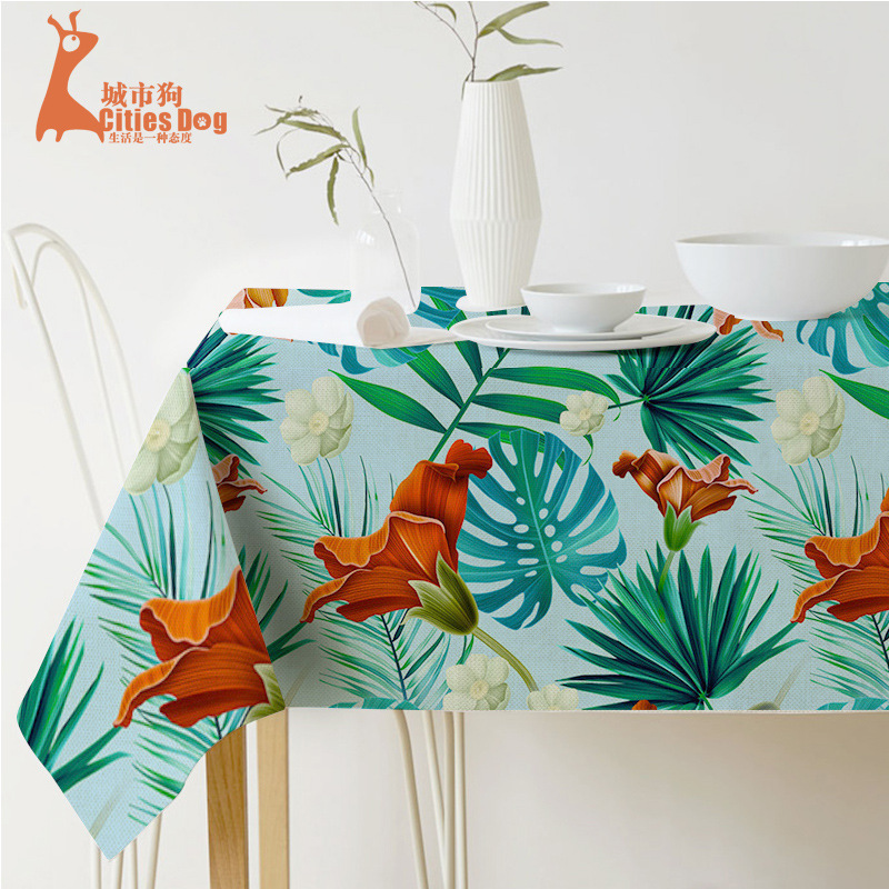 Tropical plants tablecloth Ink painting green leaves Tablecloth for table Home Protection and decoration Elegant Table cover