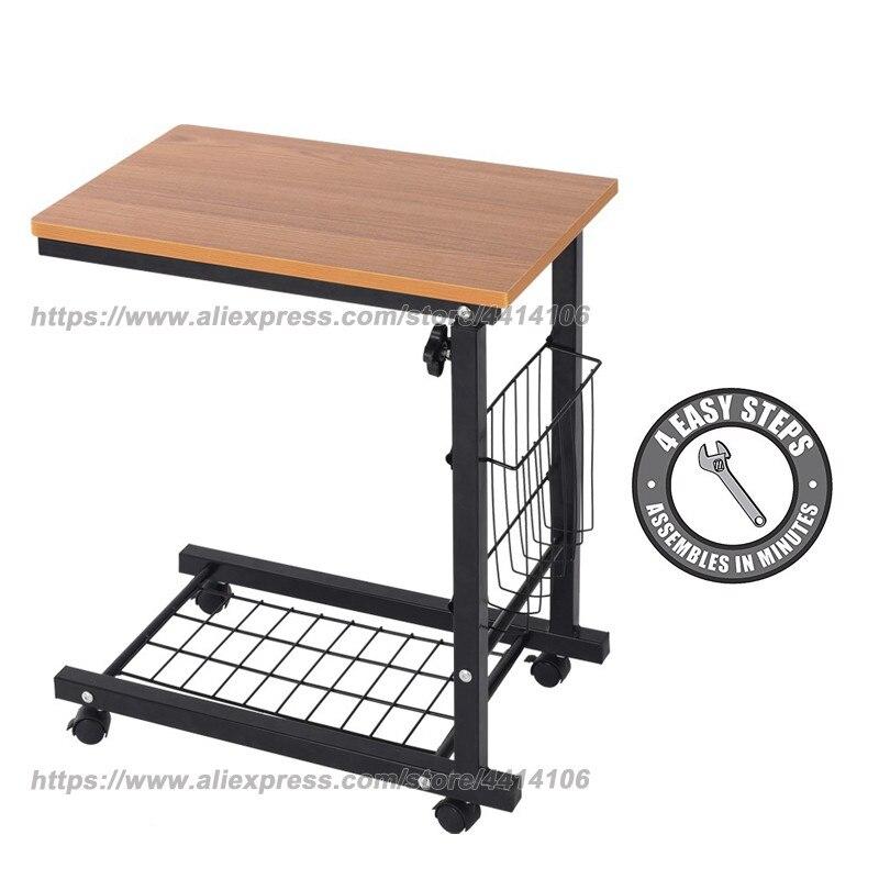 Table de lit d'hôpital Table de lit d'hôpital-roue pivotante réglable sur le chevet ordinateur portable de bureau à la maison, lecture, manger le support de chariot de petit déjeuner