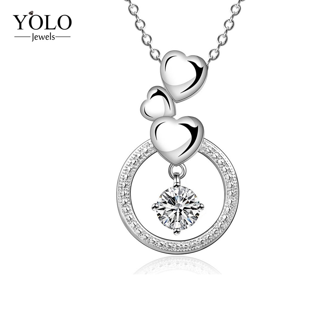 Sliver Color Hearts Water Drop Shape Design Necklaces AAA Cubic Zirconia Pendant Sweater Chain Necklace Wedding Jewelry 2018Sliver Color Hearts Water Drop Shape Design Necklaces AAA Cubic Zirconia Pendant Sweater Chain Necklace Wedding Jewelry 2018