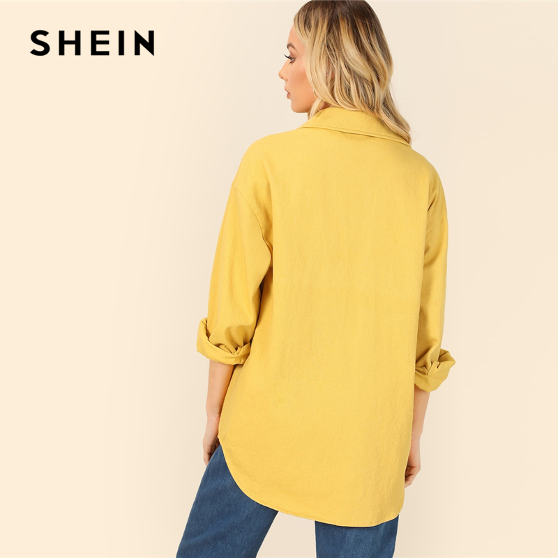 SHEIN Yellow Dual Flap Pocket Front Shirt Plain Jacket Autumn 2019 Casual Regular Single Breasted Women Coat Outerwear 2