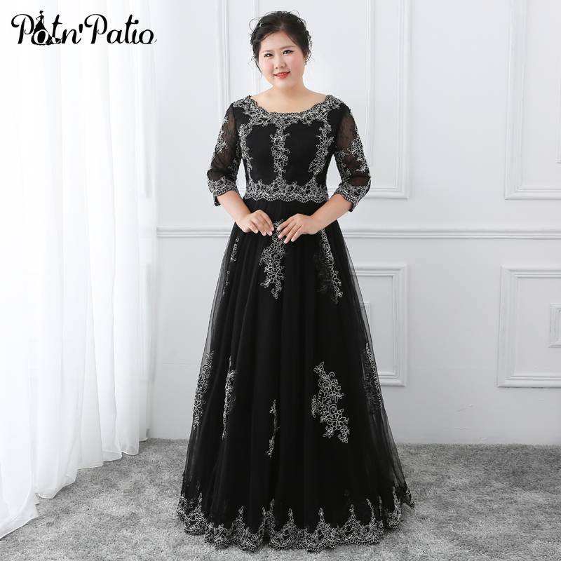 Elegant Black Evening Dresses Long Plus Size Luxury Appliques A-line Floor-length Lace Tulle Prom Gowns For Formal Evening