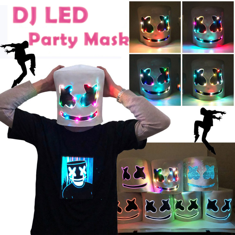 US $2 16 33% OFF|LED DJ Marshmello Masks Music Glowing Masquerade Party  Mask Full Face Cover For Adults Cosplay Halloween Festival Party  Supplies-in