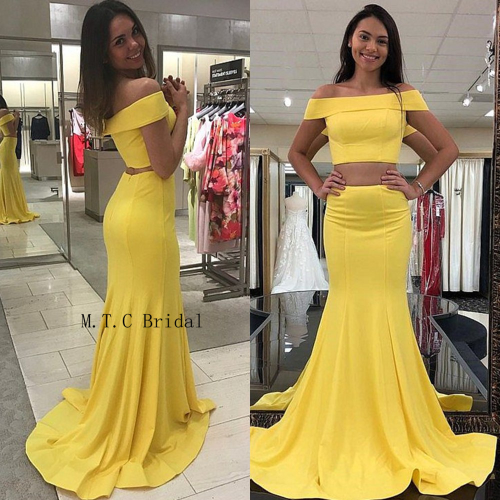 2019 Yellow 2 Piece   Prom     Dresses   Off The Shoulder Mermaid Elastic Satin Long Evening Gowns Cheap Women Wedding Party   Dress