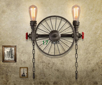 New Arrive wheel Wall Lamp Vintage Lights Loft Iron Wall Lamp Perfectly Matching Edison Incandescent Light Bulb