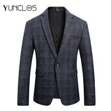 YUNCLOS, осень, приталенный мужской костюм, Блейзер, Классический клетчатый принт, пиджак, высокое качество, повседневный мужской блейзер, спортивные пиджаки для выпускного
