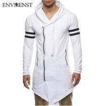 Asiatische Größe Mode männer Lange Black Asymmetrie Reißverschluss Mit Kapuze t-shirt männer Mit Seitlichem Reißverschluss Longline Hip Hop Streetwear Shirt