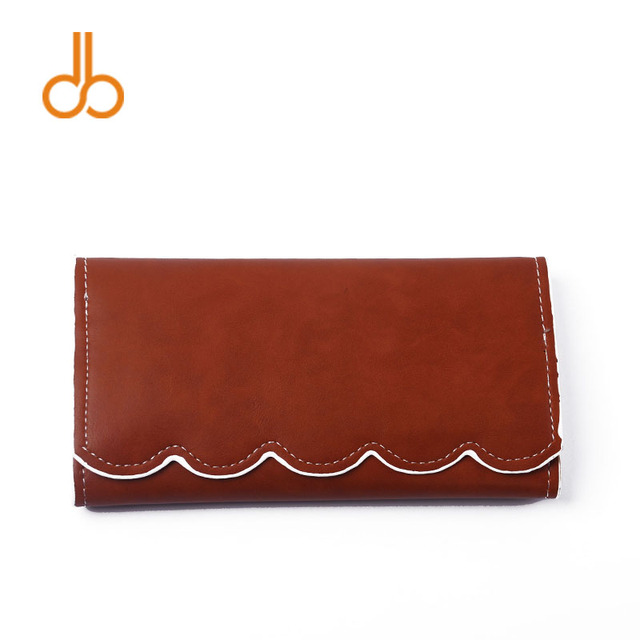 753dc87c6ae US $585.0 | Light Brown Pu Scalloped Wallet Women Clutch Vegan Leather  Wallet Pink Scalloped Purse Fold over Clutch DOMIL 1010389N-in Wallets from  ...