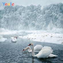 Yeele Photography Backdrops Snow Forest River Swan Winter Landscape Decorations Photographic Backgrounds For The Photo Studio