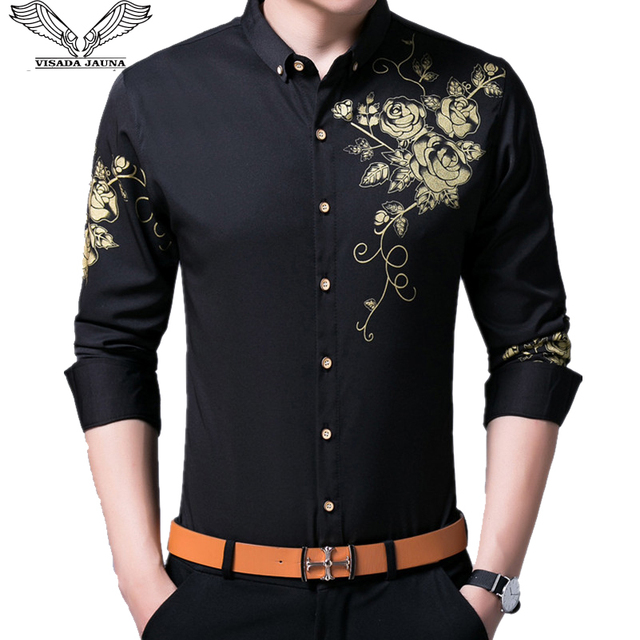 VISADA JAUNA גברים חולצות 2017 חדש אביב סתיו ארוך שרוול Slim Fit חולצות גברים מקרית הדפסת חולצת גבר שמלת 4XL גדול גודל N6606