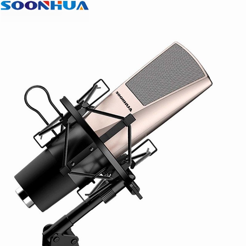 цена на Newest Fashion SOONHUA Desktop Condenser Microphone Professional Studio Broadcasting Mic With Shock Mount For Computer/PC