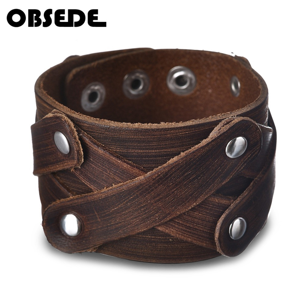 OBSEDE Fashion Charm Men Jewelry Genuine Leather Bracelet Men Vintage Wide Cuff Bracelets & Bangles Punk Clasps Accessories