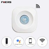 FUERS Wi Fi Smart работать самостоятельно движения PIR сенсор Поддержка ALEXA охранных беспроводной инфракрасный детектор сигнализации