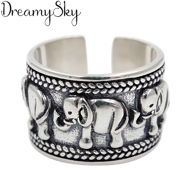 Exaggerated Personality 925 Sterling Silver Elephant Rings For Women Wedding Jewelry Adjustable Antique Finger Ring Anillos