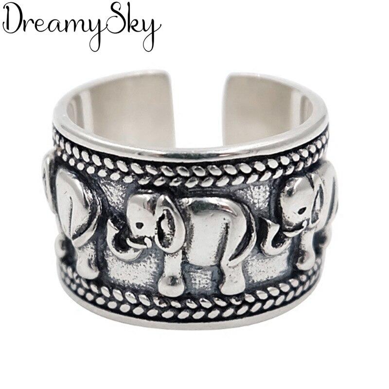Personalidad exagerada 925 Anillos de elefante de plata de ley para mujer joyería de boda anillo de dedo antiguo ajustable Anillos