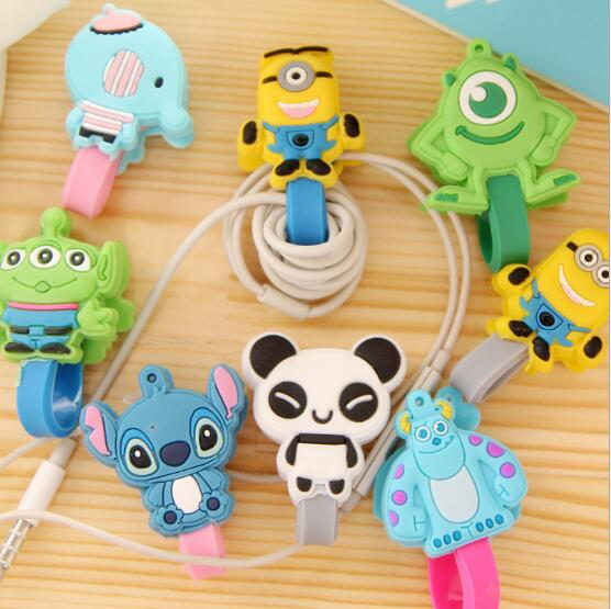 100pcslot Cute Cartoon Headphone Earphone Cable Wire Organizer Cord Holder USB Charger Cable Winder For iphone samsung