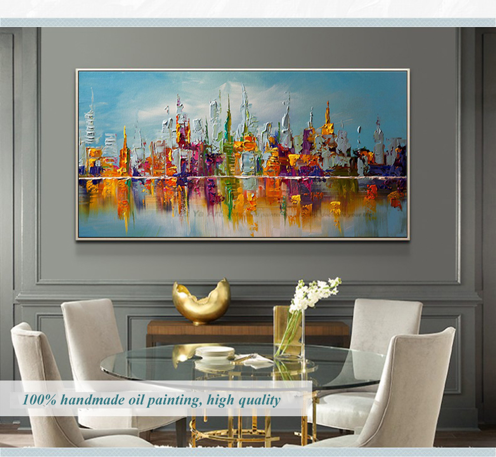 Us 53 72 21 Off Large Canvas Wall Art Abstract Modern Decorative Pictures New York City Oil Painting On Canvas For Living Room Decoration In