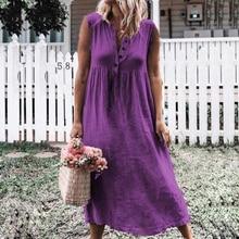 New Summer Women Fashion Sleeveless Large Size S-4XL Long Dress Casual Cotton Line V-neck Sundress Elegant Button Beach Dresses