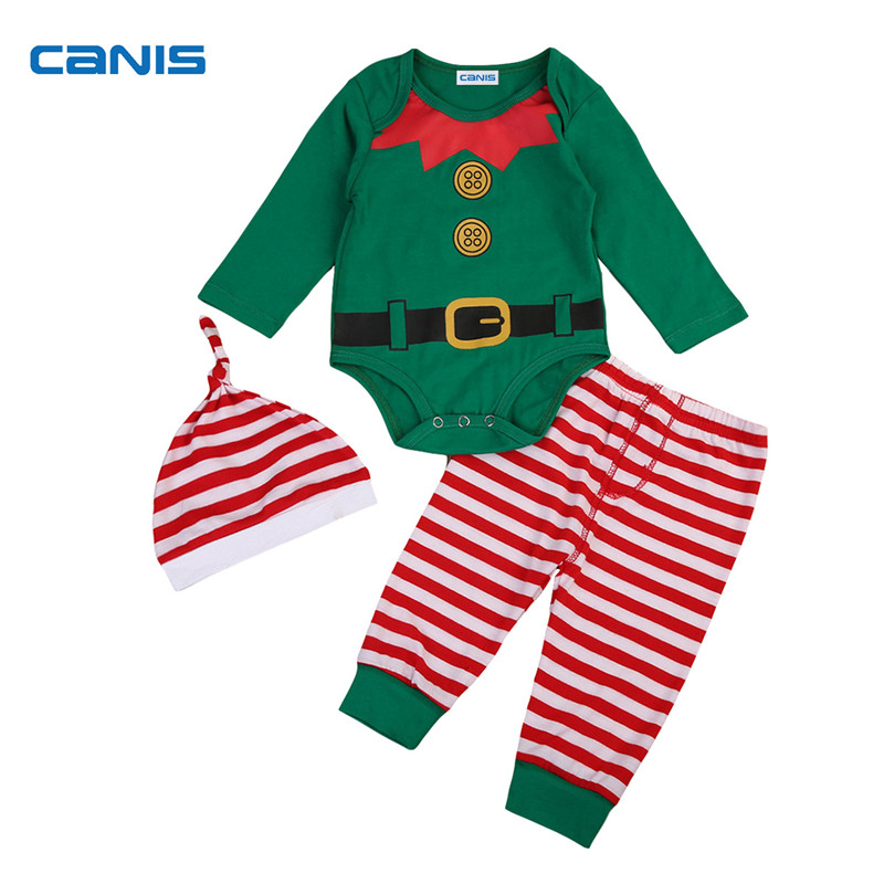 New Xmas Newborn Baby Boy Girls Christmas Costume Santa Romper Bodysuit Striped Pants Hat Outfits Winter Set Clothes 3Pcs 0-24M